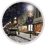 Round Beach Towel featuring the mixed media Sturgeon Bay On A Magical Night by Albert For Door County Social