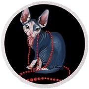 Stylish Sphynx Round Beach Towel