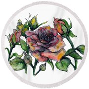 Stylized Roses Round Beach Towel