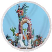 Suan Sawan Golden Dancing Dragon Dthns0144 Round Beach Towel