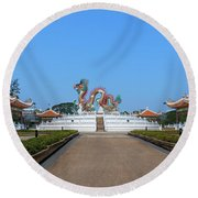 Suan Sawan Golden Dancing Dragon Dthns0145 Round Beach Towel by Gerry Gantt