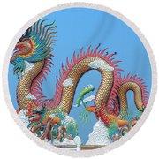 Suan Sawan Golden Dancing Dragon Dthns0147 Round Beach Towel