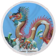 Suan Sawan Golden Dancing Dragon Dthns0147 Round Beach Towel