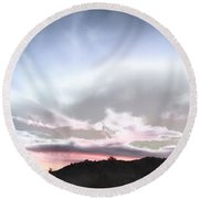Submarine In The Sky Round Beach Towel