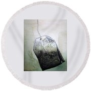 Submerged Tea Bag Round Beach Towel by Mary Ellen Frazee