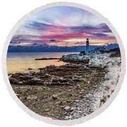 Subtle Sunrise At Portland Head Light Round Beach Towel