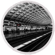 Subway Station Round Beach Towel