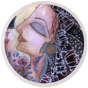Round Beach Towel featuring the painting Success Mantras by Prerna Poojara