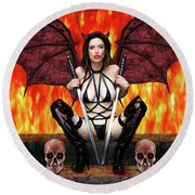 Succubus And Flames Round Beach Towel
