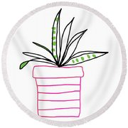 Round Beach Towel featuring the mixed media Succulent In A Pink Pot- Art By Linda Woods by Linda Woods