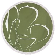 Round Beach Towel featuring the painting Succulent In Green by Ben Gertsberg