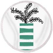 Succulent In Green Pot 1- Art By Linda Woods Round Beach Towel