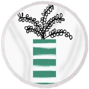Round Beach Towel featuring the mixed media Succulent In Green Pot 1- Art By Linda Woods by Linda Woods