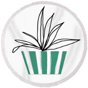 Succulent In Green Pot 3- Art By Linda Woods Round Beach Towel