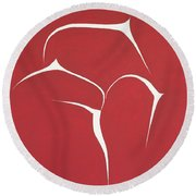 Round Beach Towel featuring the painting Succulent In Red by Ben Gertsberg