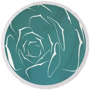 Round Beach Towel featuring the painting Succulent In Turquoise by Ben Gertsberg
