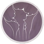 Round Beach Towel featuring the painting Succulent In Violet by Ben Gertsberg