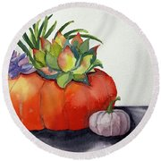 Succulents In Pumpkin Round Beach Towel