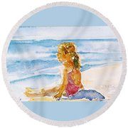Round Beach Towel featuring the painting Such A Perfect Day  by Trudi Doyle