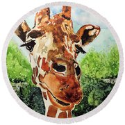 Round Beach Towel featuring the painting Such A Sweet Face by Tom Riggs