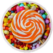 Sucker On Bed Of Candy Round Beach Towel