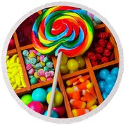 Sucker On Candy Compartments Round Beach Towel