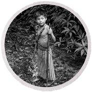 Round Beach Towel featuring the photograph Sucua Kids 898 by Al Bourassa