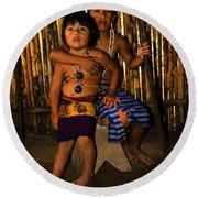 Round Beach Towel featuring the photograph Sucua Kids 901 by Al Bourassa