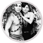 Round Beach Towel featuring the photograph Sucua Shaman And Spouse by Al Bourassa