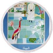 Sudan - Kuwait Airways Corporation - Kuwait - Retro Travel Poster - Vintage Poster Round Beach Towel
