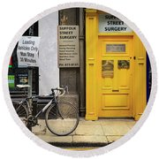 Round Beach Towel featuring the photograph Suffolk Street Surgery Bicycle by Craig J Satterlee