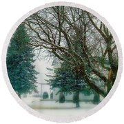 Round Beach Towel featuring the photograph Sugar-coated by Elfriede Fulda