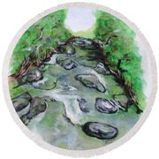 Sugar Creek, Boyhood Memory Round Beach Towel