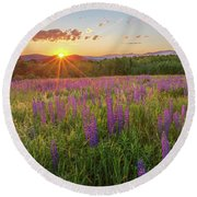 Sugar Hill New Hampshire Lupine Round Beach Towel by Bill Wakeley
