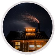 Sugar House At Night Round Beach Towel