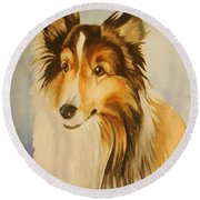 Round Beach Towel featuring the painting Sugar by Marilyn Jacobson
