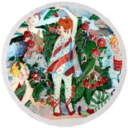 Sugar Plum Fairies Round Beach Towel by Mindy Newman