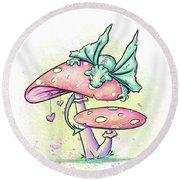 Round Beach Towel featuring the digital art Sugar Puff The Dragon by Lizzy Love