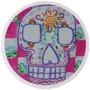 Sugar Skull Round Beach Towel