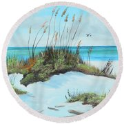 Sugar White Beach Round Beach Towel