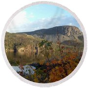 Round Beach Towel featuring the photograph Sugarloaf Hill In Autumn by Barbara Griffin