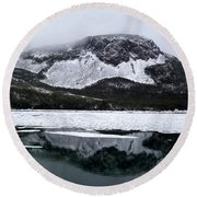 Round Beach Towel featuring the photograph Sugarloaf Hill Reflections In Winter by Barbara Griffin