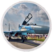 Round Beach Towel featuring the photograph Sukhoi by Tgchan