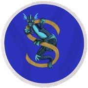 Round Beach Towel featuring the digital art Sukio Letter S by Donna Huntriss