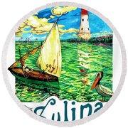 Sulina, Romania, Sailing Boat, Lighthouse Round Beach Towel