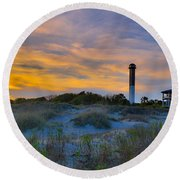 Sullivan's Island Lighthouse At Dusk - Sullivan's Island Sc Round Beach Towel
