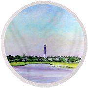 Sullivans Island Lighthouse Round Beach Towel