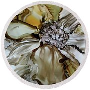 Round Beach Towel featuring the painting Sultry Petals by Joanne Smoley