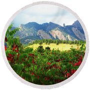 Round Beach Towel featuring the photograph Sumac And Flatirons 2 by Marilyn Hunt
