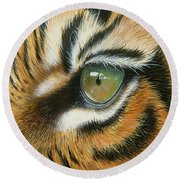 Round Beach Towel featuring the painting Sumatra by Mike Brown